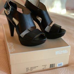 Michael Kors Carla Platform Black Sandals 7.5